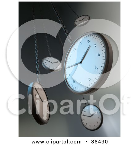 Royalty-Free (RF) Clipart Illustration of 3d Hanging Wall Clocks Over Gray by Mopic