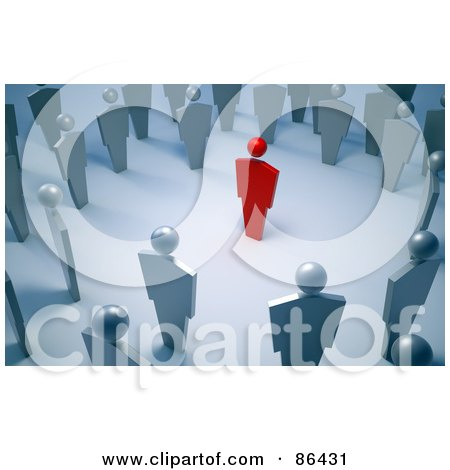 Royalty-Free (RF) Clipart Illustration of a Circle Of Silver People Around A Red Person by Mopic