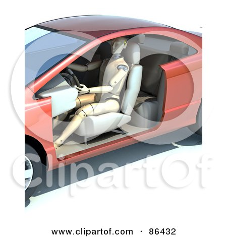 Royalty-Free (RF) Clipart Illustration of a Dummy Driving A Doorless Vehicle by Mopic