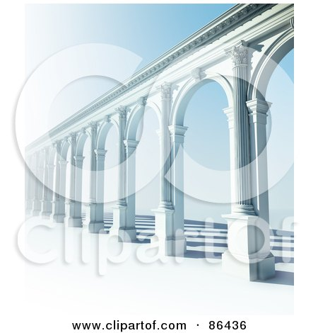 Royalty-Free (RF) Clipart Illustration of a 3d Classic Arcade Of Columns Over Blue by Mopic