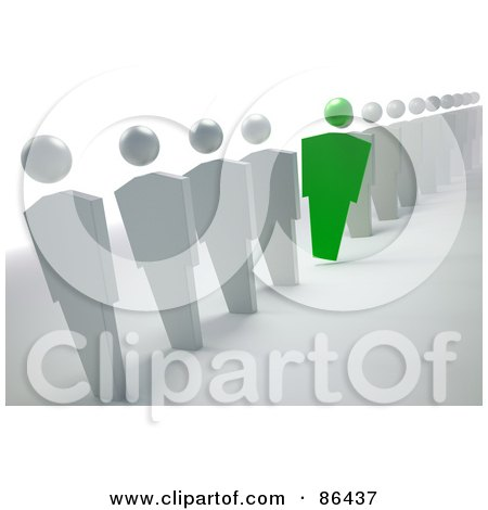 Royalty-Free (RF) Clipart Illustration of a Green Unique Businessman Leaning Out Of A Line Of White People by Mopic