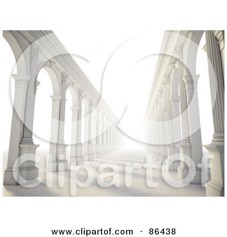 Royalty-Free (RF) Clipart Illustration of a Bright Light Shining Down Columnar Arcades by Mopic
