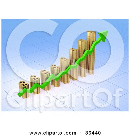 Royalty-Free (RF) Clipart Illustration of a 3d Golden Dollar Symbol Bar Graph With A Green Arrow by Mopic