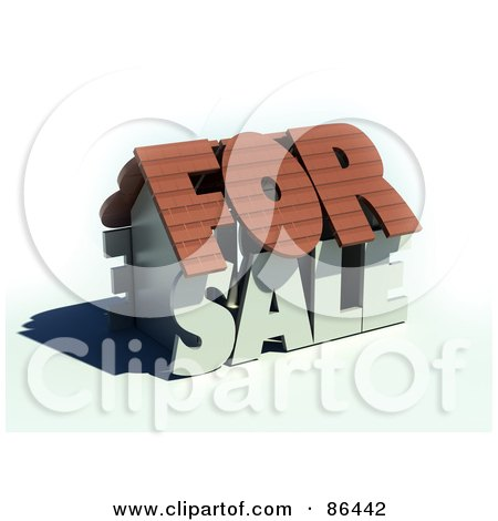 Royalty-Free (RF) Clipart Illustration of a 3d For Sale Word Home by Mopic