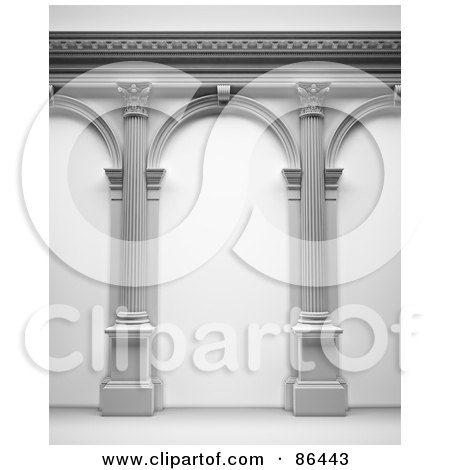 Royalty-Free (RF) Clipart Illustration of a 3d Arcade Of Columns by Mopic