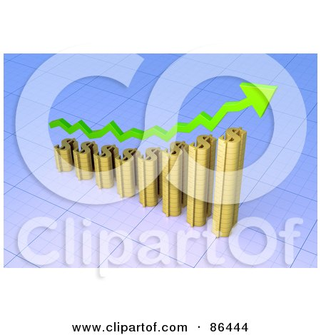 Royalty-Free (RF) Clipart Illustration of a 3d Gold Dollar Symbol Bar Graph With A Green Arrow by Mopic