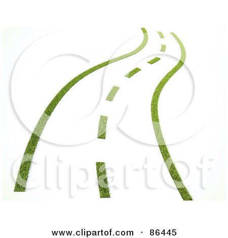 Royalty-Free (RF) Clipart Illustration of a 3d Grassy Road With Dotted Lines by Mopic