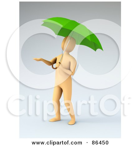 Royalty-Free (RF) Clipart Illustration of a 3d Orange Figure Holding His Hand Out And Standing Under An Umbrella by Mopic
