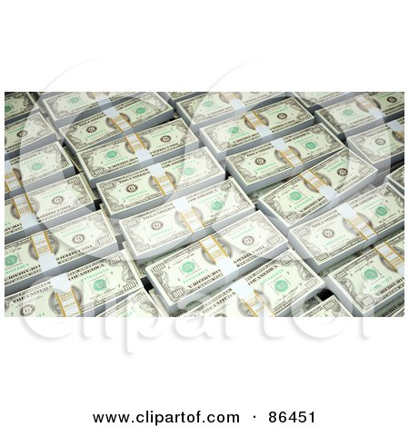 Royalty-Free (RF) Clipart Illustration of a Background Of Bundled Dollars by Mopic