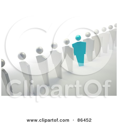 Royalty-Free (RF) Clipart Illustration of a Blue Unique Businessman Standing Out Of A Line Of White People by Mopic