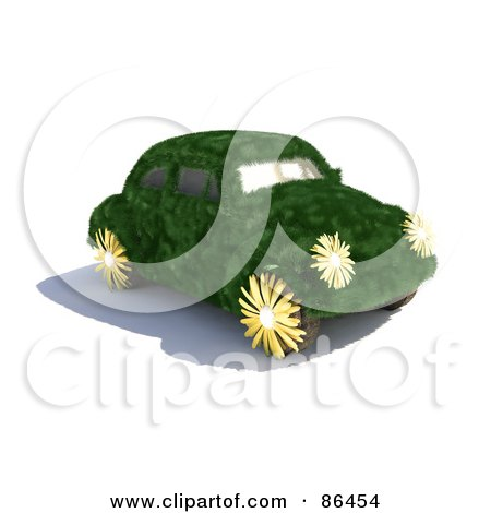 Royalty-Free (RF) Clipart Illustration of a Grassy Slug Bug Car With Flower Wheels And Lights by Mopic
