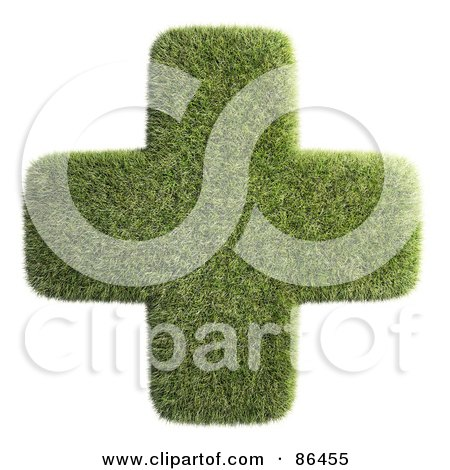 Royalty-Free (RF) Clipart Illustration of a Grassy Green Cross Over White by Mopic