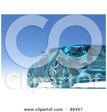 Royalty-Free (RF) Clipart Illustration of a Frontal View Of A 3d Glass Car Over Blue by Mopic