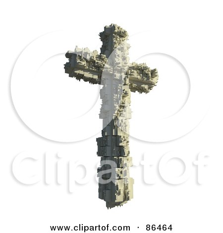 Royalty free rf clipart illustration of a 3d crucifix formed of