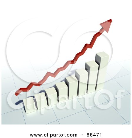 Royalty-Free (RF) Clipart Illustration of a 3d Red Profit Arrow Over A Bar Graph by Mopic