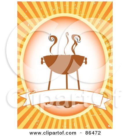 Royalty-Free (RF) Clipart Illustration of a Retro Smoking Bbq Label With A Blank Banner Over Orange by mheld