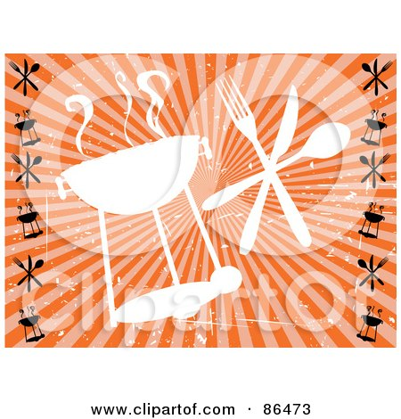 Royalty-Free (RF) Clipart Illustration of a Grungy Retro Styled White Barbeque Silhouette With Silverware Over Orange by mheld
