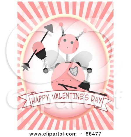 Royalty-Free (RF) Clipart Illustration of a Happy Valentine's Day Banner Under A Cupid Robot And Rays by mheld