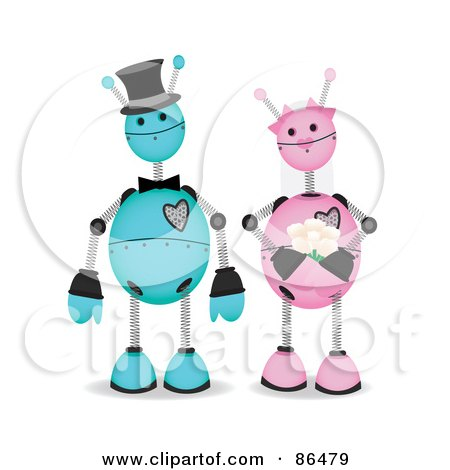 Royalty-Free (RF) Clipart Illustration of a Blue And Pink Robot Wedding Couple by mheld