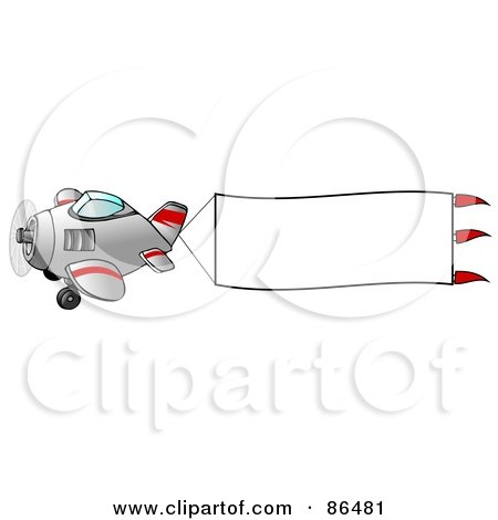 Royalty-Free (RF) Clipart Illustration of a Cute Airplane With A Blank White Banner by djart