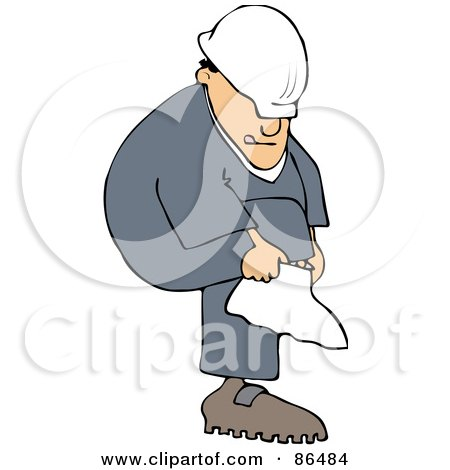 Royalty-Free (RF) Clipart Illustration of a Caucasian Worker Man Putting A Cover On Over His Boot by djart