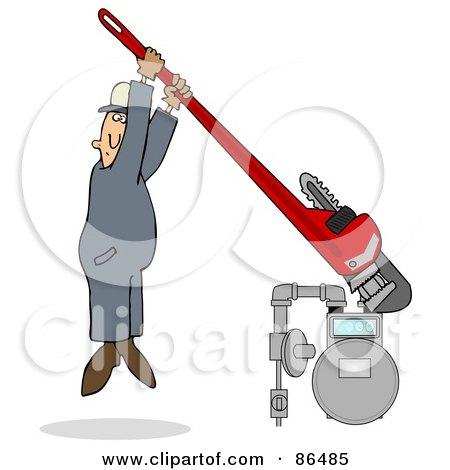Royalty-Free (RF) Clipart Illustration of a Man Hanging From A Giant Monkey Wrench While Tightening A Gas Meter by djart