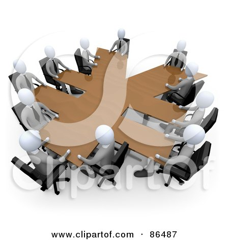 Royalty-Free (RF) Clipart Illustration of 3d White Business People In A Meeting Around A Wooden Yen Shaped Table by 3poD