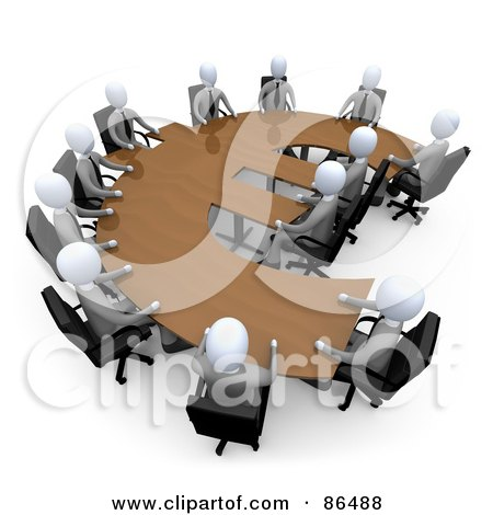 Royalty-Free (RF) Clipart Illustration of 3d White Business People In A Meeting Around A Wooden Euro Shaped Table by 3poD