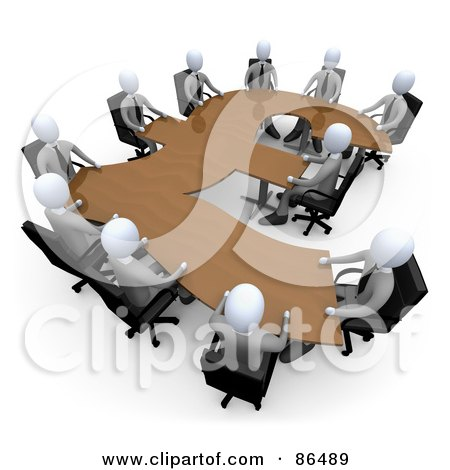 Royalty-Free (RF) Clipart Illustration of 3d White Business People In A Meeting Around A Wooden Pound Shaped Table by 3poD