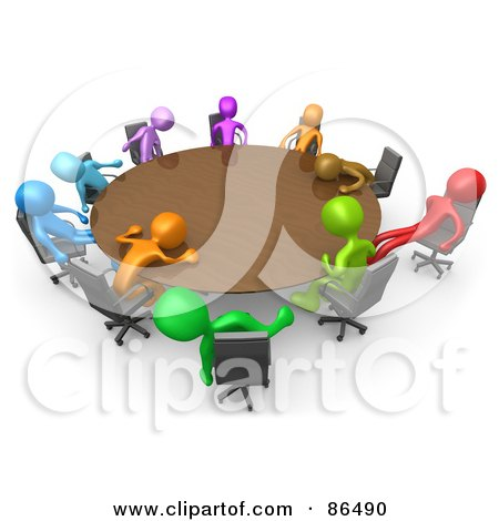 Royalty-Free (RF) Clipart Illustration of a 3d Meeting Of Colorful People Passing Out Around A Round Table by 3poD