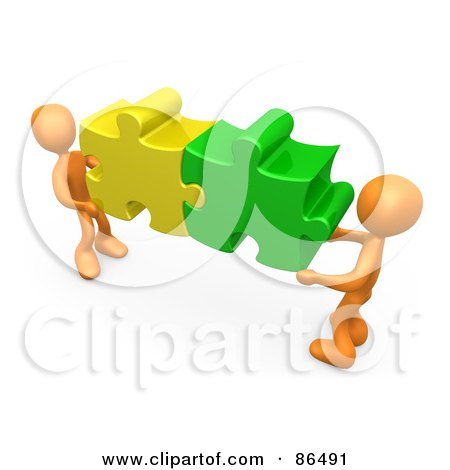 Royalty-Free (RF) Clipart Illustration of Two 3d Orange People Holding Together Colorful Puzzle Pieces To Find A Solution by 3poD