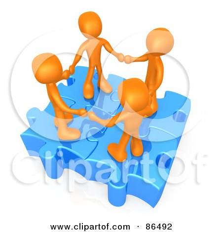 Royalty-Free (RF) Clipart Illustration of Four 3d Orange People Holding Hands On Linked Puzzle Pieces by 3poD