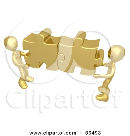 Royalty-Free (RF) Clipart Illustration of Two 3d Gold People Holding Together Puzzle Pieces To Find A Solution by 3poD