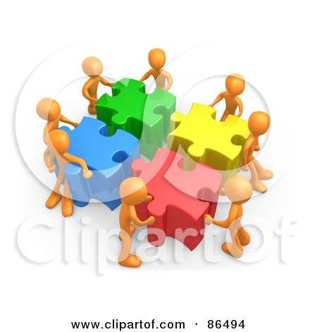 Royalty-Free (RF) Clipart Illustration of 3d Orange People Pushing Together Large Colorful Puzzle Pieces To Find A Solution by 3poD