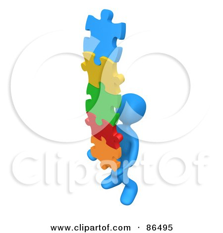 Royalty-Free (RF) Clip Art Illustration of a 3d Blue Person Carrying A Stack Of Connected Colorful Puzzle Pieces by 3poD