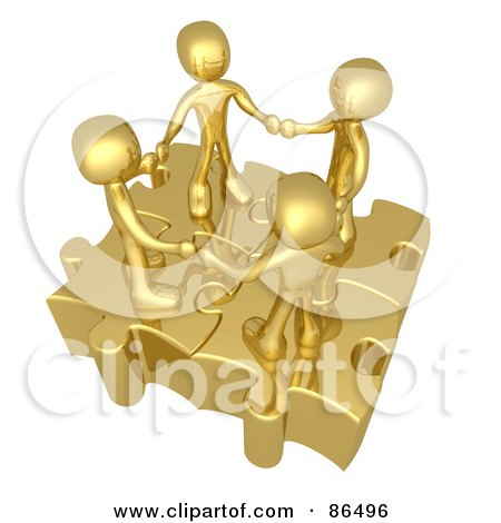 Royalty-Free (RF) Clipart Illustration of Four 3d Golden People Holding Hands On Linked Puzzle Pieces by 3poD