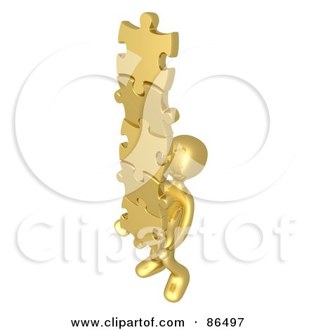 Royalty-Free (RF) Clipart Illustration of a 3d Gold Person Carrying A Stack Of Connected Puzzle Pieces by 3poD