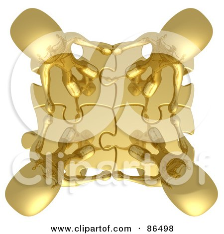 Royalty-Free (RF) Clipart Illustration of an Aerial View Of Four 3d Gold People Holding Hands On Linked Puzzle Pieces by 3poD