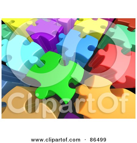 Royalty-Free (RF) Clipart Illustration of a Background Of 3d Tall Colorful Puzzle Pieces With Space Between Them by 3poD