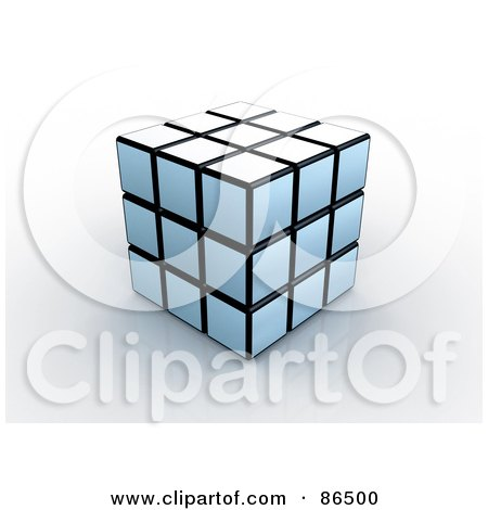 Royalty-Free (RF) Clipart Illustration of a 3d White And Black Puzzle Cube On A Reflective Surface by 3poD