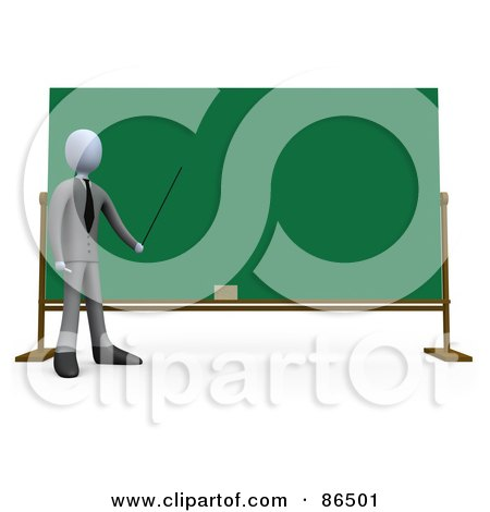 Royalty-Free (RF) Clipart Illustration of a 3d White Teacher Holding A Pointer To A Chalkboard by 3poD
