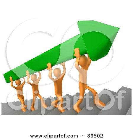 Royalty-Free (RF) Clipart Illustration of 3d Orange People Carrying A Green Arrow Up Stairs by 3poD
