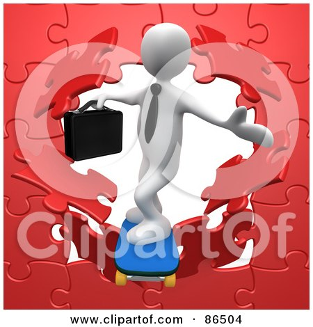 Royalty-Free (RF) Clipart Illustration of a 3d White Businessman Skateboarding Through A Red Puzzle Wall by 3poD