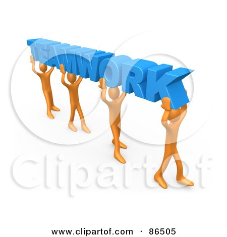 Royalty-Free (RF) Clipart Illustration of 3d Orange People Carrying Blue TEAMWORK by 3poD