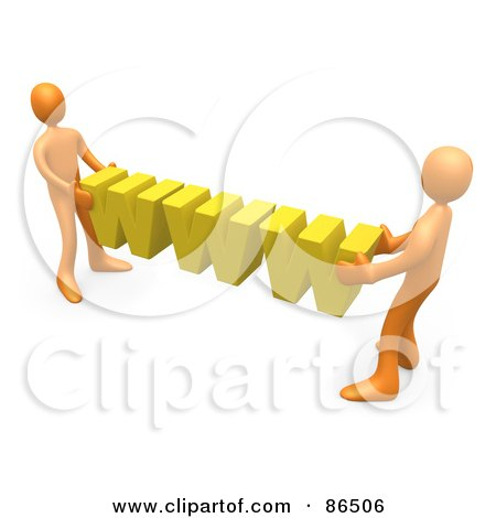Royalty-Free (RF) Clipart Illustration of 3d Orange People Carrying Yellow WWW by 3poD