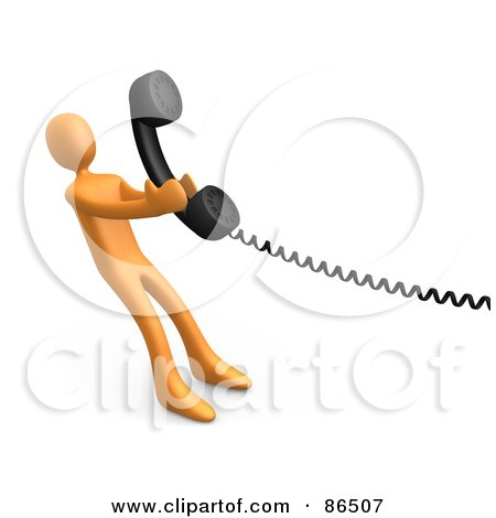 Royalty-Free (RF) Clipart Illustration of a 3d Orange Person Pulling A Landline Phone Receiver by 3poD