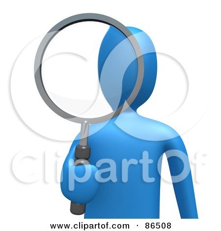 Royalty-Free (RF) Clipart Illustration of a 3d Blue Person Looking Through A Shiny Magnifying Glass by 3poD