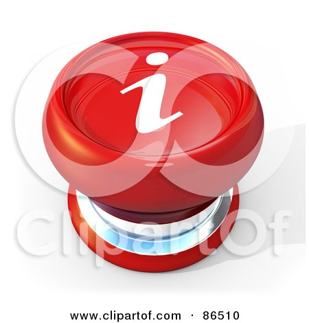 Royalty-Free (RF) Clipart Illustration of a 3d Red Information Push Button With A Shadow by 3poD