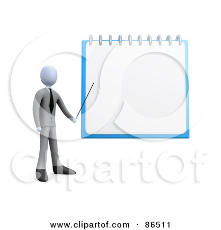 Royalty-Free (RF) Clipart Illustration of a 3d Businessman Pointing To A Blank Notepad by 3poD