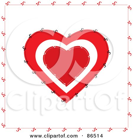 Royalty-Free (RF) Clipart Illustration of a Stitched Red And White Heart Over White by Pams Clipart